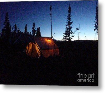 Moose Camp At Sunset Metal Print