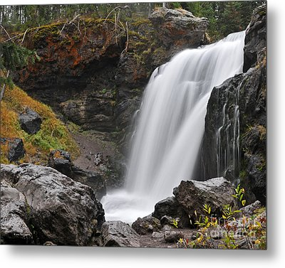 Moose Falls Yellowstone National Park Nature Waterfall Metal Print
