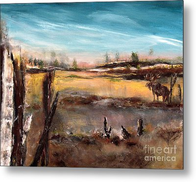 Metal Print featuring the painting Moose Landscape by France Laliberte