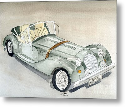 Metal Print featuring the painting Morgan Sports Car by Eva Ason