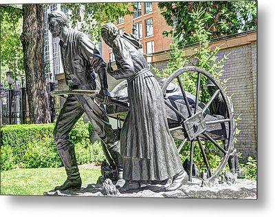 Mormon History - Hand Cart Statue Metal Print by Gary Whitton