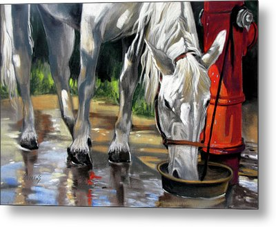 Metal Print featuring the painting Morning Bath Now Breakfast by Rae Andrews