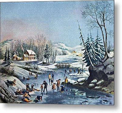 Morning By Currier And Ives Metal Print by Susan Leggett