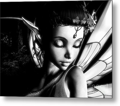 Morning Fairy Bw Metal Print by Alexander Butler