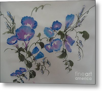 Metal Print featuring the painting Morning Glory--2011 by Dongling Sun