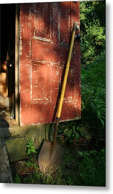 Morning Light On The Door Of An Old Metal Print by Stephen St. John