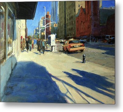 Morning Shadows On Amsterdam Avenue  Metal Print by Peter Salwen