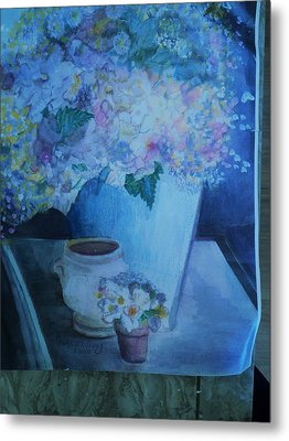Morning Table With Bouquet And Cups Metal Print by Anne-Elizabeth Whiteway