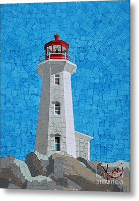 Mosaic Lighthouse Metal Print