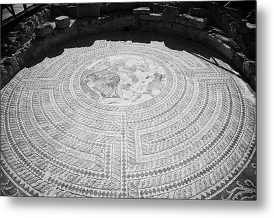 Mosaics On The Floor Of The House Of Theseus Roman Villa At Paphos Archeological Park Cyprus Metal Print by Joe Fox