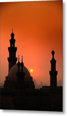 Mosques And Sunset In Cairo, Egypt Metal Print by Glen Allison