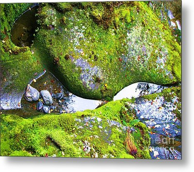 Metal Print featuring the photograph Mossy Rocks And Water Reflections by Michele Penner