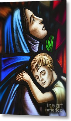 Mother And Child Stained Glass Metal Print