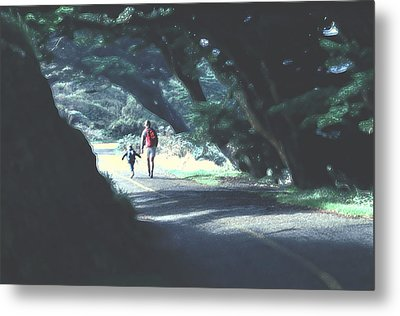 Mother And Child Walking Through Point Reyes Park Metal Print