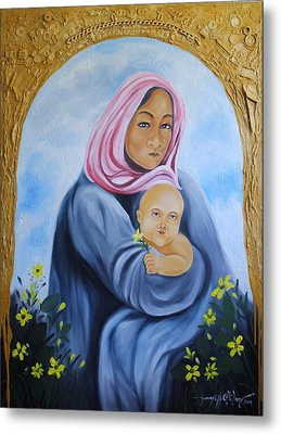 Mother And Child With Yellow Flowers Metal Print by Johnny Otilano