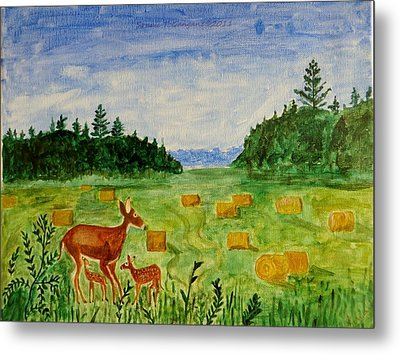 Metal Print featuring the painting Mother Deer And Kids by Sonali Gangane