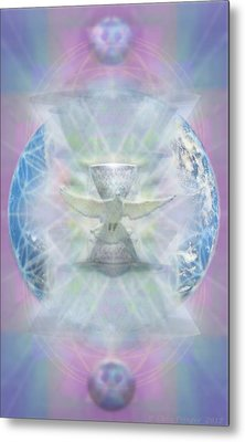 Metal Print featuring the digital art Mother Earth Dove And Chalice by Christopher Pringer