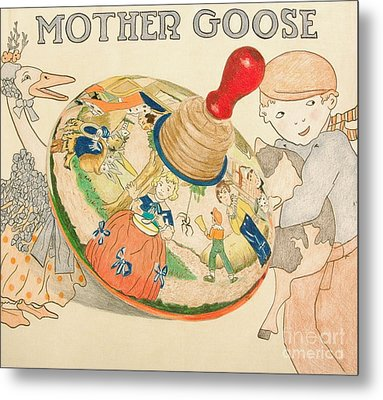 Mother Goose Spinning Top Metal Print by Glenda Zuckerman