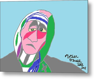 Metal Print featuring the painting Mother Teresa by Anita Dale Livaditis