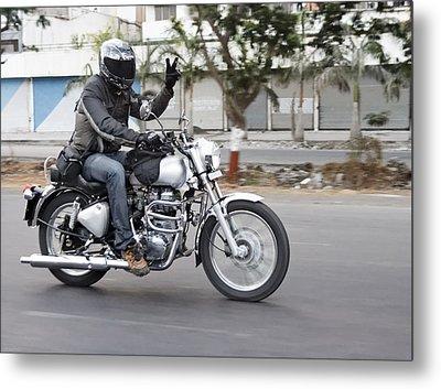 Motorbiker Peace Metal Print by Kantilal Patel