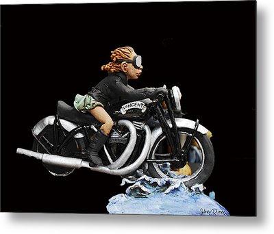 Motorcycle Girl Metal Print by Sidney Dumas