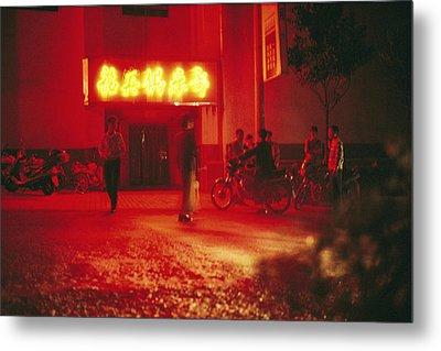 Motorcyclists Outside A Karaoke Bar Metal Print by Justin Guariglia