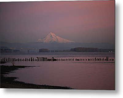 Mount Hood And Columbia River Oregon Washington Metal Print by Sam Amato