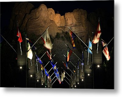 Metal Print featuring the photograph Mount Rushmore By Night by Paul Svensen