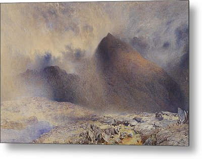 Mount Snowdon Through Clearing Clouds Metal Print by Alfred William Hunt