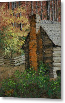 Mountain Cabin Metal Print by Linda Eades Blackburn