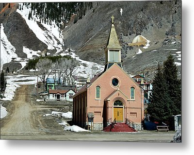 Metal Print featuring the photograph Mountain Chapel With Red Steps by Lorraine Devon Wilke