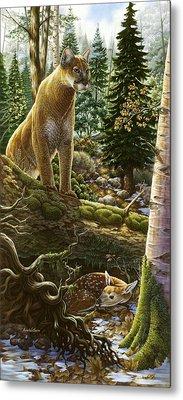 Mountain Lion With Fawn Metal Print by Anne Wertheim