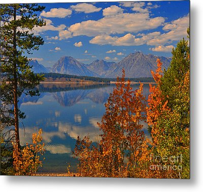 Mountain Reflections In Autumn Grand Tetons Metal Print