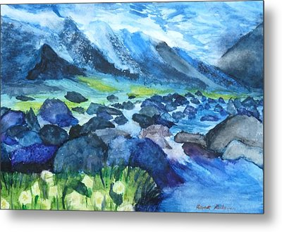 Mountain River Metal Print by Anna  Henderson