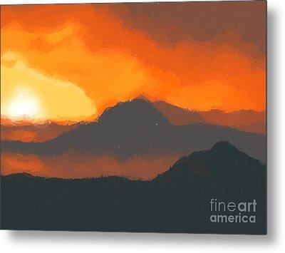 Mountain Sunset Metal Print by Pixel  Chimp