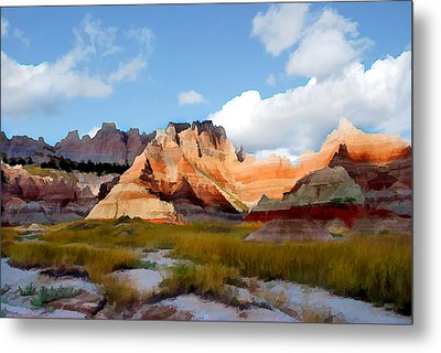 Mountains And Sky In Badlands National Park Metal Print by Elaine Plesser