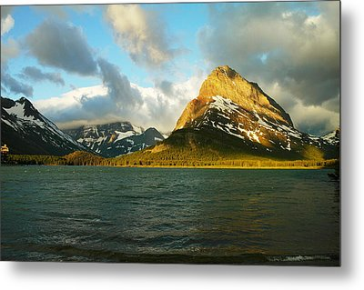 Mountains At Many Glacier Metal Print by Jeff Swan