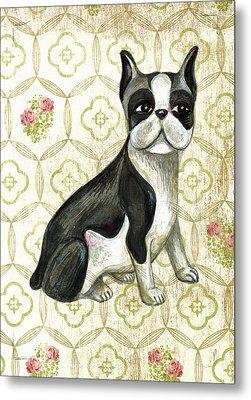 Mr. Iggy The Boston Terrier Metal Print by Nancy Mitchell