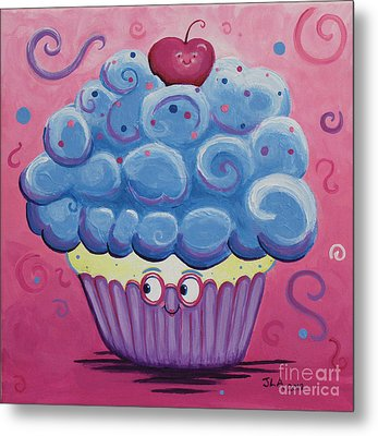 Mrs. Blue Cupcake Metal Print by Jennifer Alvarez