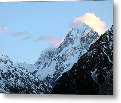 Metal Print featuring the photograph Mt. Cook With Sunlit Clouds by Laurel Talabere