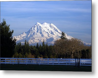 Metal Print featuring the photograph Mt. Rainier Fenced In by Rob Green