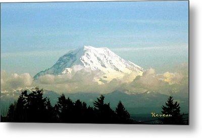 Mt. Rainier In Cloud Blanket Metal Print