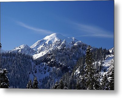 Metal Print featuring the photograph Mt. Rainier In Contrast by Rob Green