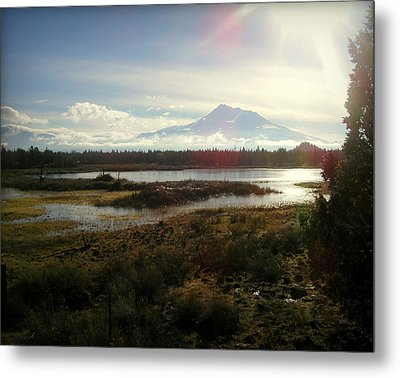 Mt Shasta Sunburst And Reflections Metal Print by Cindy Wright
