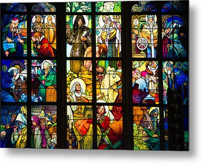 Mucha Window St Vitus Cathedral Prague Metal Print by Matthias Hauser