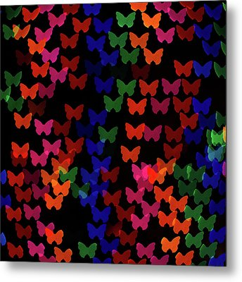 Multi Colored Butterfly Shaped Lights Metal Print by Lotus Carroll