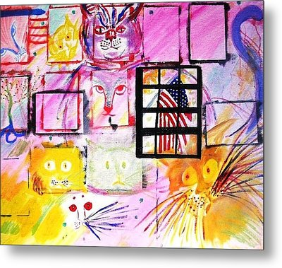Metal Print featuring the painting Multicat by Leslie Byrne