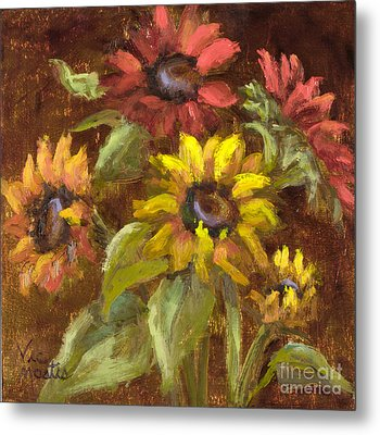 Multicolored Sunflowers With Gold Leaf By Vic Mastis Metal Print by Vic  Mastis