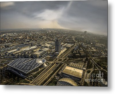 Munich From Above - Vintage Part Metal Print by Hannes Cmarits