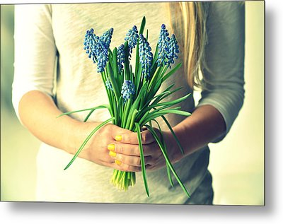 Muscari In Womans Hands Metal Print by Photo by Ira Heuvelman-Dobrolyubova